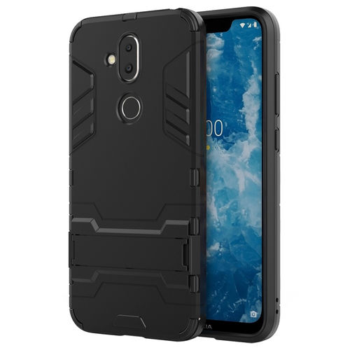 Slim Armour Tough Shockproof Case & Stand for Nokia 8.1 - Black